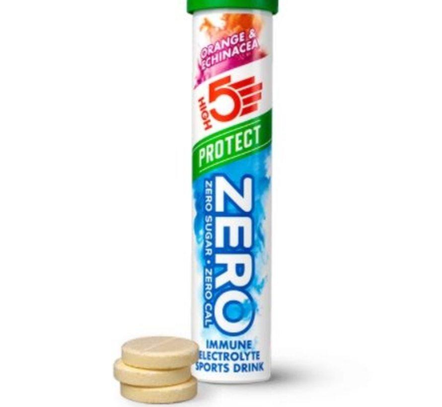 Zero protect drink cafeïne hit, 1 tube met 20 tabletten, orange & echinacea.