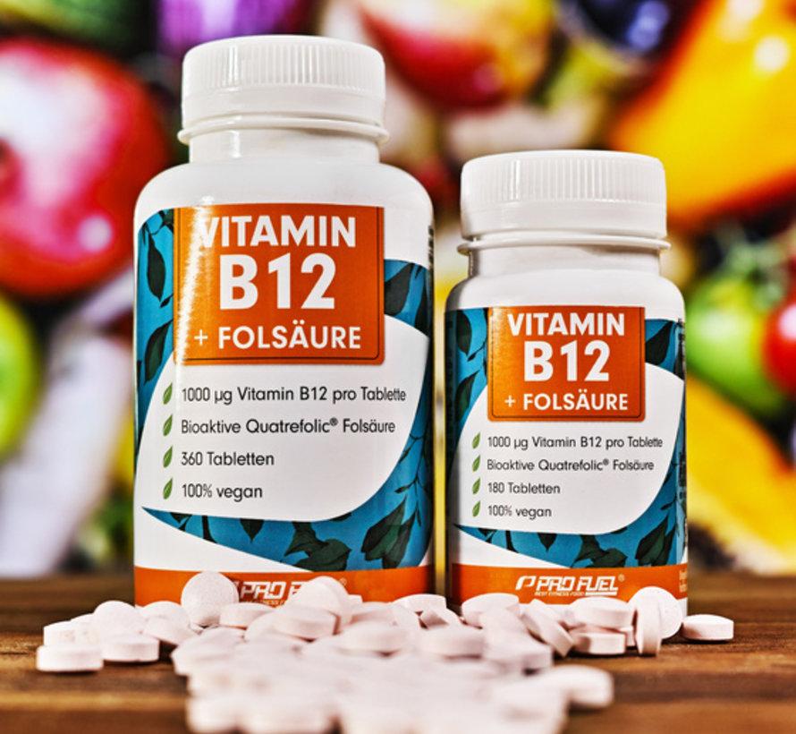 VITAMINE B12 + FOLIC ACID  Methylcobalamine B12 & bioactief foliumzuur (180  tabletten)