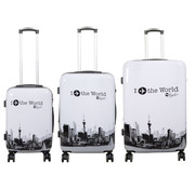 travelsuitcase 3 delig kofferset  Fly The World White