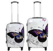 travelsuitcase 2 delig Kofferset Butterfly 67cm 55cm