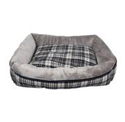 Petbrands Petbrands hondenmand pet sofa geruit grijs