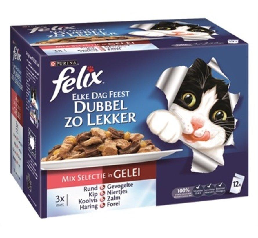 4x felix elke dag feest pouch dubbel zo lekker mix selectie in gelei
