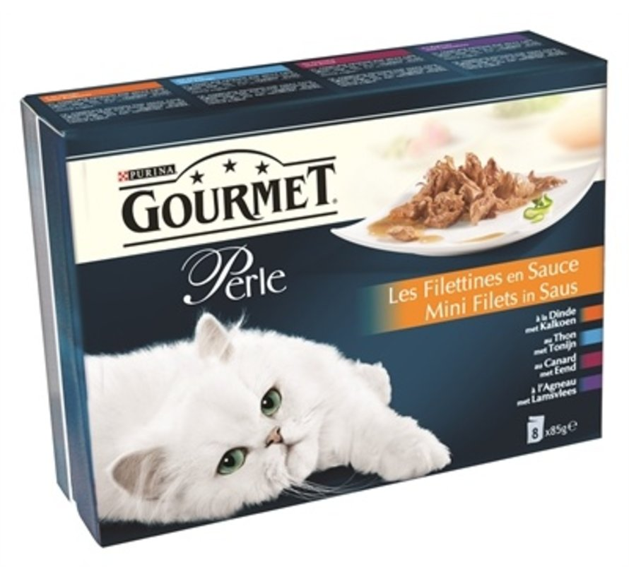 5x gourmet perle 8-pack pouch mini filets in saus