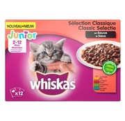 Whiskas 4x whiskas multipack pouch junior classic selectie vlees in saus