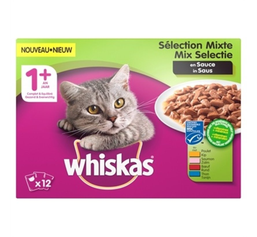 4x whiskas multipack pouch adult mix selectie vlees / vis in saus