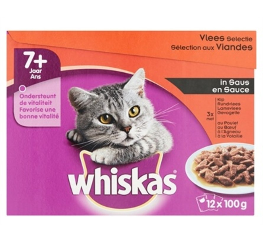 4x whis multipack pouch senior vlees selectie in saus