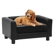 Hondenbank 60x43x30 cm pluche en kunstleer zwart