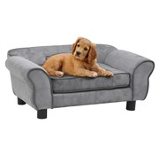 Hondenbank 72x45x30 cm pluche grijs