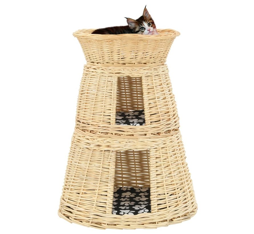 3-delige Kattenmandset met kussens 47x34x60cm natuurlijk wilgen