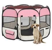 Hondenren inklapbaar met draagtas 90x90x58 cm roze