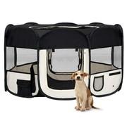 Hondenren inklapbaar met draagtas 145x145x61 cm zwart