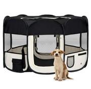 Hondenren inklapbaar met draagtas 125x125x61 cm zwart