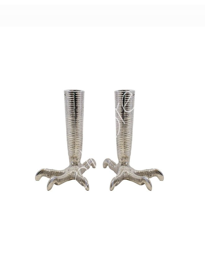 CANDLE HOLDER CLAW SET SILVER 11X16X18