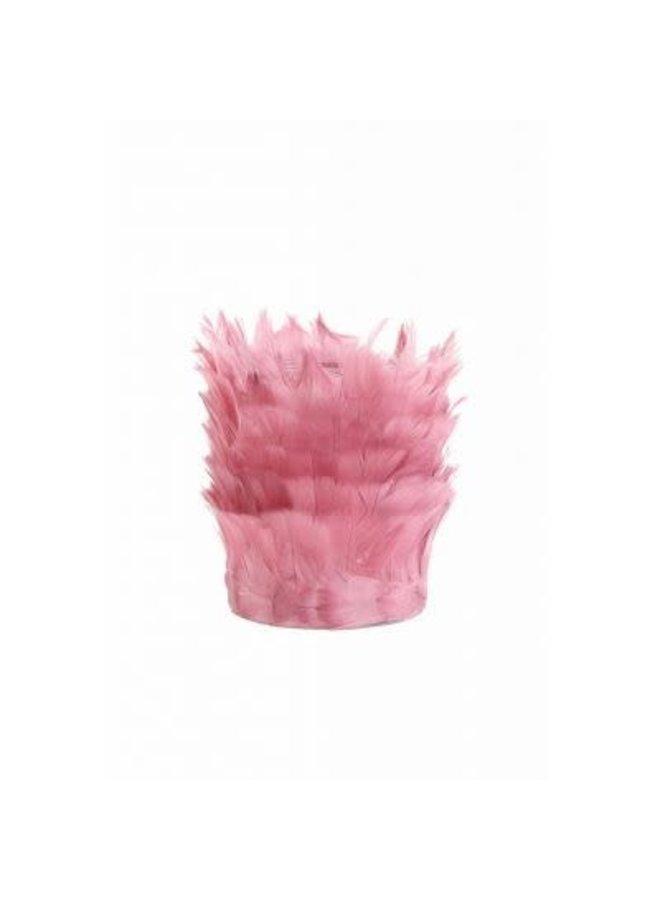 Theelicht. 7x5,9 veren oud roze