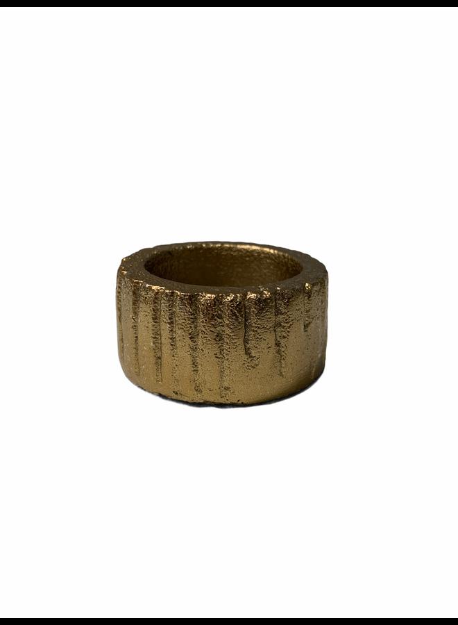 Candle holder alu raw bronze 6x6x3