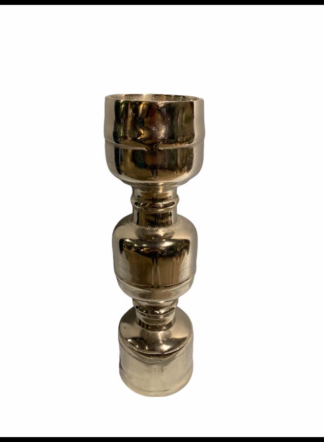 Candle holder alu raw /ni 13x13x42