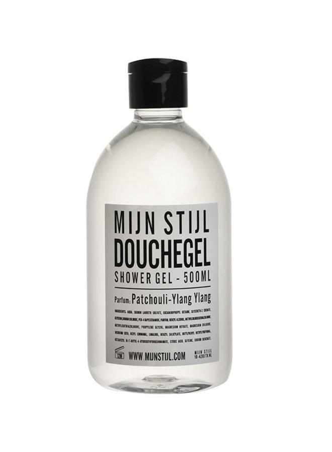 Douchegel parfum Patchouli-Ylang-Ylang 500 ml wit/zwarte letters etiket