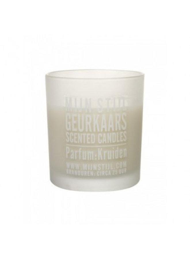 Geurkaars parfum lotus jasmijn wit glas