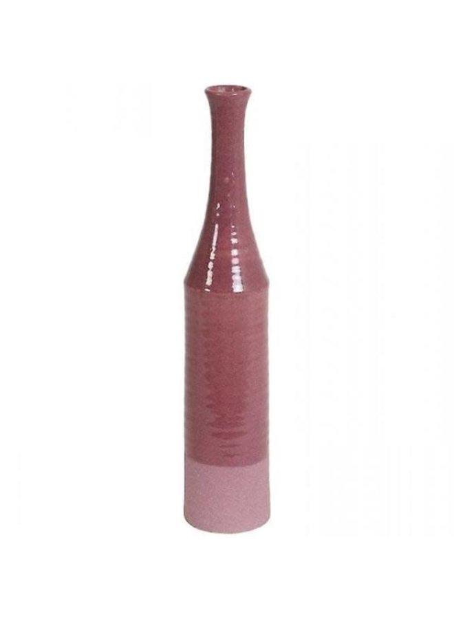 vaas deco 12x60 cm roze/paars