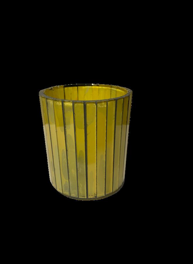 VOTIVE GLASS YELLOW 8X8X9