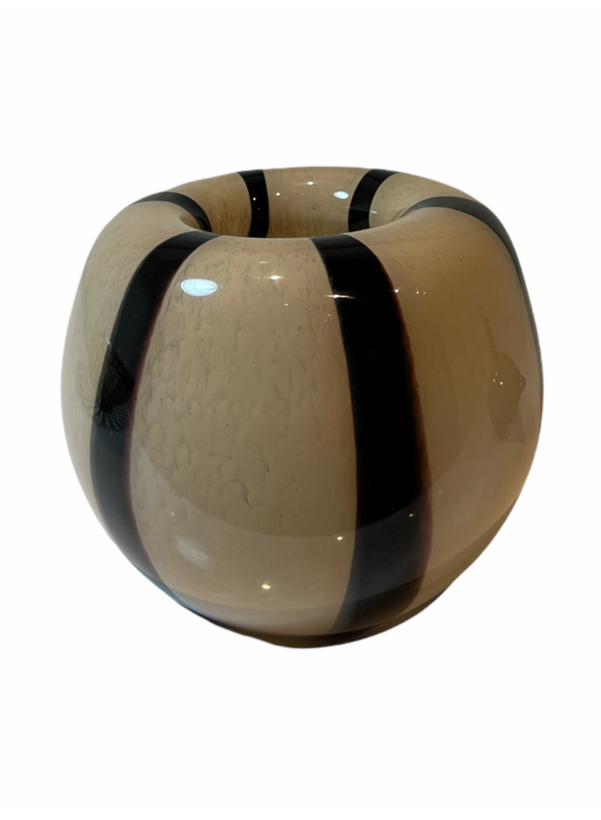 VASE BALL SAND BLACK STRIPES GLASS 20X20X16