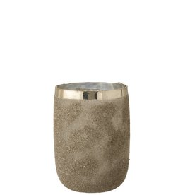 Theelichthouder Zilver Frosty Rond Large