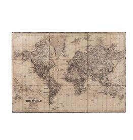 Wanddecoratie Wereldkaart Grijs Metaal