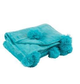 Plaid Azuur Blauw Pompom Polyester