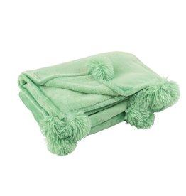 Plaid Licht Groen Pompom Polyester