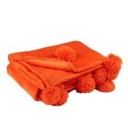 Plaid Oranje Pompom Polyester