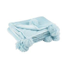 Plaid Licht Blauw Pompom Polyester