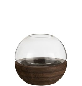 Vaas Donkerbruin Rond Hout Glas