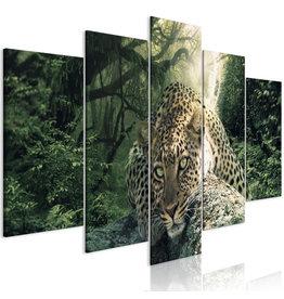 Schilderij Luipaard Liggend 5 luiken