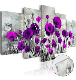 Schilderij Plexiglas Paarse Bloemen 5 Luiken