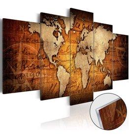 Schilderij Plexiglas Wereldkaart Acrylic Brons 5 Luiken