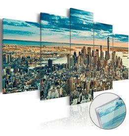 Schilderij Plexiglas New York Blauw 5 Luiken