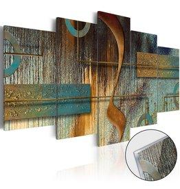 Schilderij Plexiglas Blauw Goud 5 Luiken
