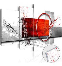 Schilderij Plexiglas Abstract Rood Grijs 5 Luiken