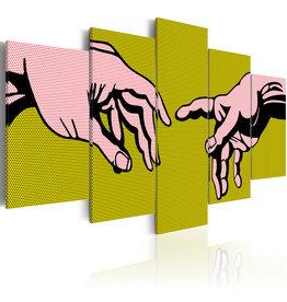 Schilderij Closeness Handen Geel 5 Luiken