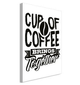 Schilderij Cup of Coffee Brings Together