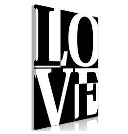 Schilderij Love Zwart Wit