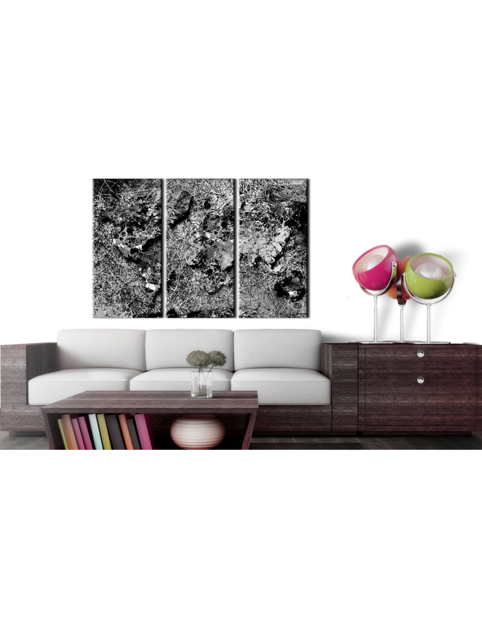 Schilderij Wereldkaart Abstract Grijs 3 Luiken