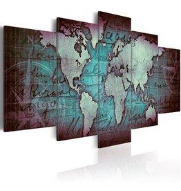 Schilderij Wereldkaart Blauw Paars 3 Luiken