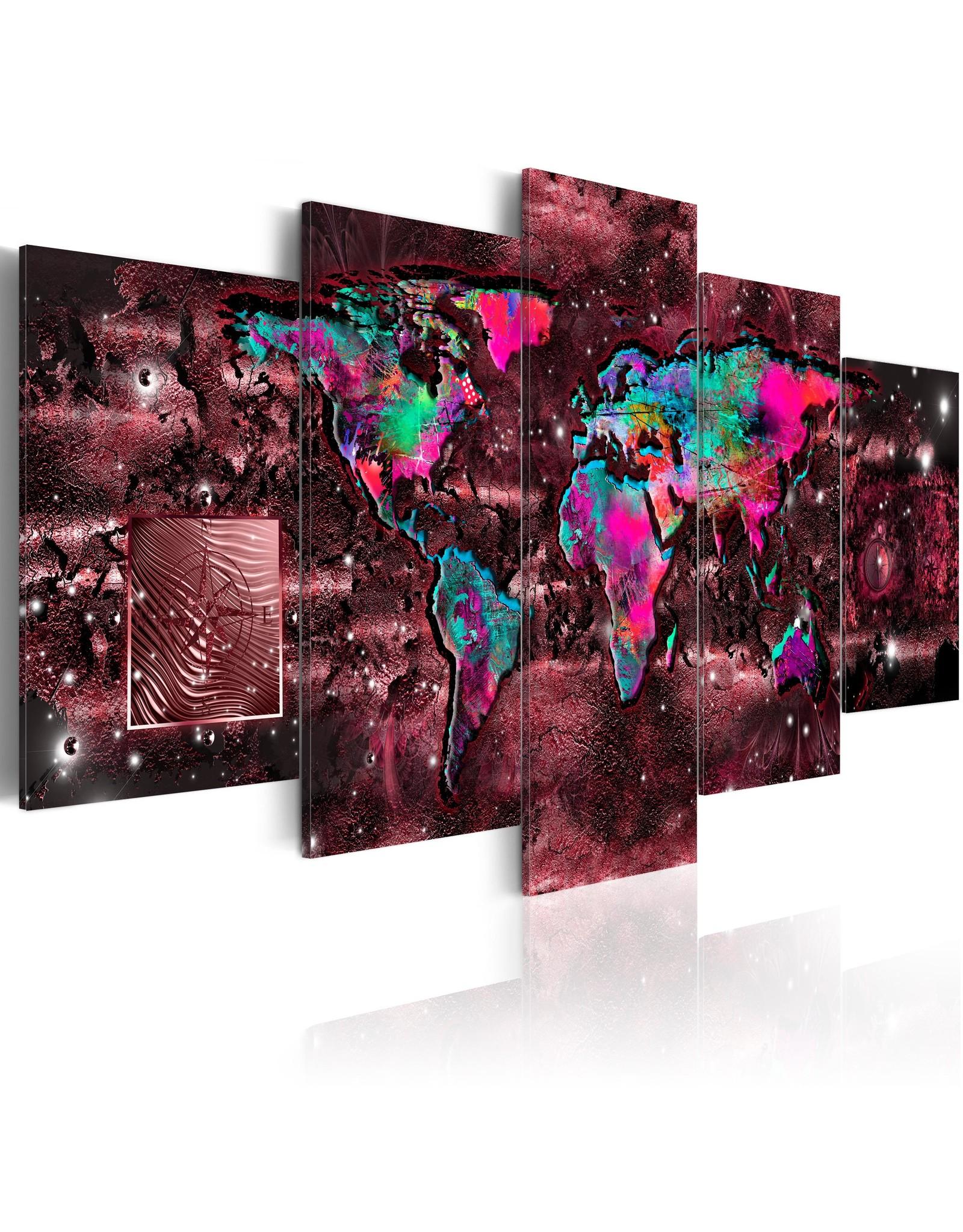 Schilderij Wereldkaart Ruby Rood 3 Luiken