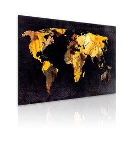 Schilderij Wereldkaart Zwart Geel