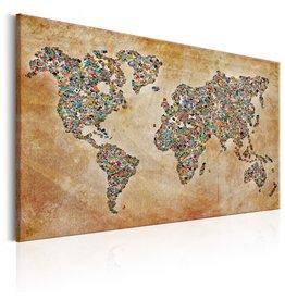 Schilderij Wereldkaart Postcards
