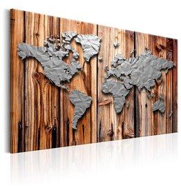 Schilderij Wereldkaart Modern Grijs