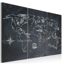 Schilderij Wereldkaart Zwart Wit 3 Luiken