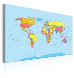 Schilderij Wereldkaart Regenboog