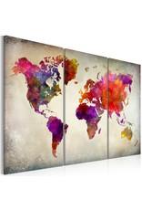 Schilderij Wereldkaart Kleuren 3 Luiken